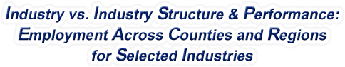 Maryland - Industry vs. Industry Structure & Performance: Employment Across Counties and Regions for Selected Industries